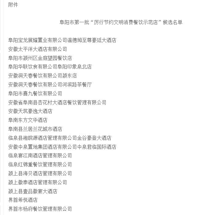 阜阳市厉行节约文明消费餐饮示范店