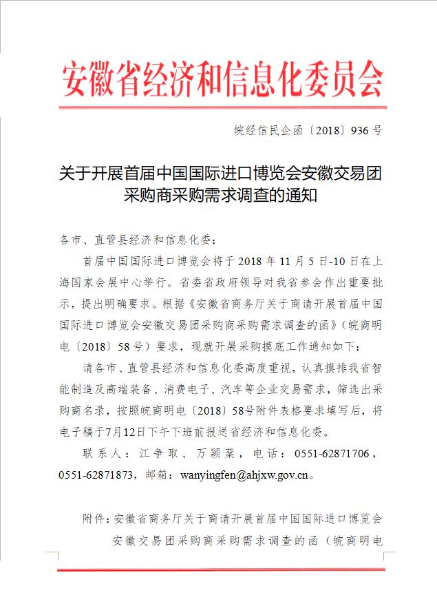 关于开展首届中国国际进口博览会安徽交易团 采购商采购需求调查的通知