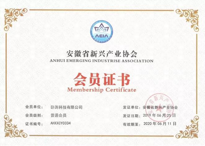 安徽省新型产业协会会员证书